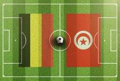 Τοπ άποψη του πράσινου γηπέδου ποδοσφαίρου με τις σημαίες του Βελγίου και της Τυνησίας Στοκ φωτογραφία με δικαίωμα ελεύθερης χρήσης