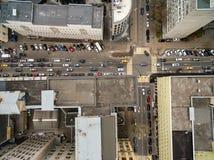 Τοπ άποψη του δρόμου με έντονη κίνηση Στοκ Εικόνες