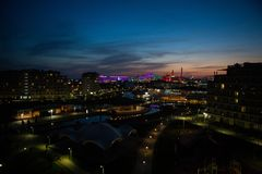 Τοπ άποψη του σταδίου Fisht πάρκων του Sochi με ένα ξενοδοχείο και τις φωτογραφικές διαφάνειες Στοκ Φωτογραφίες