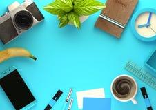 Τοπ άποψη του χώρου εργασίας γραφείων στο μπλε διανυσματική απεικόνιση