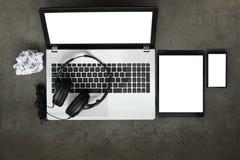 Τοπ άποψη του χώρου εργασίας της σύνθεσης της έννοιας μουσικής Στοκ φωτογραφίες με δικαίωμα ελεύθερης χρήσης