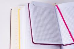 Τοπ άποψη τριών ανοικτών σημειωματάριων στο άσπρο υπόβαθρο γραφείων κενός Στοκ εικόνες με δικαίωμα ελεύθερης χρήσης
