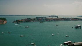 Τοπ άποψη των βαρκών στη Βενετία απόθεμα βίντεο