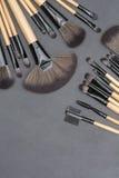 Τοπ άποψη των επαγγελματικών βουρτσών makeup καθορισμένων Στοκ Φωτογραφία