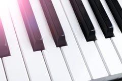 Τοπ άποψη των κλειδιών πιάνων στενό πιάνο πλήκτρων επάνω στενή μετωπική άποψη Πληκτρολόγιο πιάνων με την εκλεκτική εστίαση διαγών Στοκ εικόνα με δικαίωμα ελεύθερης χρήσης
