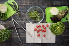 Τοπ άποψη των ντοματών πράσινης σαλάτας και λίγων κερασιών Στοκ εικόνες με δικαίωμα ελεύθερης χρήσης