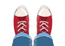 Τοπ άποψη των πάνινων παπουτσιών άνωθεν Στοκ φωτογραφία με δικαίωμα ελεύθερης χρήσης