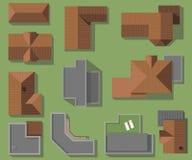 Τοπ άποψη των σπιτιών, στέγες, διανυσματικό σύνολο Σύγχρονος, υψηλή τεχνολογία και κλασικά σπίτια υλικού κατασκευής σκεπής ελεύθερη απεικόνιση δικαιώματος