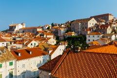 Τοπ άποψη των στεγών των σπιτιών σε Dubrovnik, Κροατία Στοκ Εικόνες