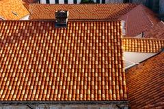 Τοπ άποψη των στεγών των σπιτιών σε Dubrovnik, Κροατία Στοκ Φωτογραφία