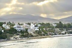 Τοπ άποψη των τραπεζών του κόλπου της Πάφος, Κύπρος, κατά τη διάρκεια της ανατολής πρωινού Στοκ φωτογραφία με δικαίωμα ελεύθερης χρήσης