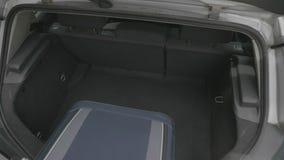 Τοπ άποψη των τσαντών ταξιδιού εκφόρτωσης νεαρών άνδρων από το αυτοκίνητο και αναδιοργάνωση των αποσκευών για τις διακοπές - απόθεμα βίντεο