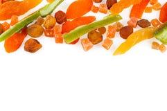 Τοπ άποψη των υγιών ξηρών ζωηρόχρωμων φρούτων και Στοκ φωτογραφία με δικαίωμα ελεύθερης χρήσης