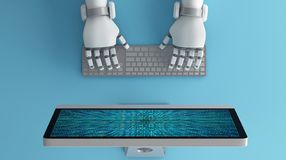 Τοπ άποψη των χεριών ρομπότ που χρησιμοποιούν το πληκτρολόγιο μπροστά από ένα MO υπολογιστών διανυσματική απεικόνιση