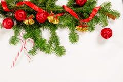 Τοπ άποψη υποβάθρου Χριστουγέννων άσπρη ξύλινη Στοκ Εικόνες
