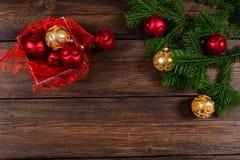 Τοπ άποψη υποβάθρου Χριστουγέννων ξύλινη Στοκ φωτογραφία με δικαίωμα ελεύθερης χρήσης