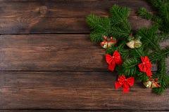 Τοπ άποψη υποβάθρου Χριστουγέννων ξύλινη Στοκ φωτογραφίες με δικαίωμα ελεύθερης χρήσης