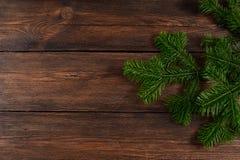 Τοπ άποψη υποβάθρου Χριστουγέννων ξύλινη Στοκ Εικόνα