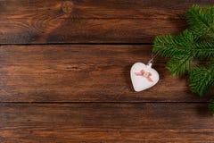 Τοπ άποψη υποβάθρου Χριστουγέννων ξύλινη Στοκ εικόνες με δικαίωμα ελεύθερης χρήσης