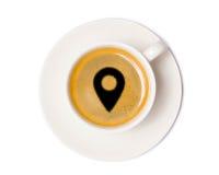 Τοπ άποψη φλυτζανιών καφέ που απομονώνεται στο άσπρο υπόβαθρο με το ψαλίδισμα στοκ φωτογραφίες