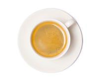 Τοπ άποψη φλυτζανιών καφέ που απομονώνεται στο άσπρο υπόβαθρο με το ψαλίδισμα στοκ εικόνες με δικαίωμα ελεύθερης χρήσης