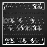 Τοπ άποψη χώρων στάθμευσης Στοκ Φωτογραφίες