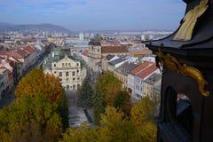 Τοπ άποψη Kosice & x28 Slovakia& x29  από τη ρυμούλκηση καθεδρικών ναών Αγίου Elisabeth Στοκ Εικόνα