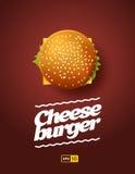 Τοπ απεικόνιση άποψης του cheesburger Στοκ Εικόνα
