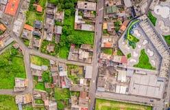 Τοπ αστική άποψη των μερών των σπιτιών Banos de Agua Santa, Ισημερινός Στοκ εικόνα με δικαίωμα ελεύθερης χρήσης