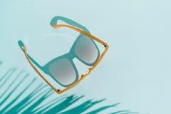Τοπ γυαλιά ηλίου άποψης στο τυρκουάζ υπόβαθρο με το φως του ήλιου και τις σκιές του φοίνικα, κανένας αντικείμενο έννοιας ταξιδιού στοκ φωτογραφίες