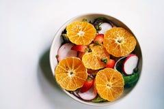 Τοπ διαστημικά, υγιή γεύματα άποψης και αντιγράφων, μικτή σαλάτα με το συντηρημένο σολομό, φρέσκα λαχανικά στοκ φωτογραφία με δικαίωμα ελεύθερης χρήσης