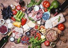 Τοπ επιτραπέζιο σύνολο άποψης των τροφίμων Στοκ Εικόνα