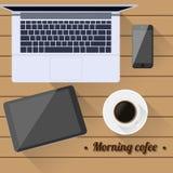 Τοπ εργασία γραφείων θέσεων εργασίας άποψης coffee cup dressing girl gown morning white διανυσματική απεικόνιση