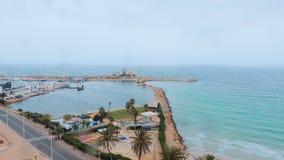 Τοπ θαλάσσιος λιμένας άποψης και χώρος στάθμευσης σκαφών Ναυτικό λιμένων στον τουρίστα Μοναστίρ Τυνησία απόθεμα βίντεο
