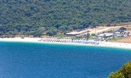Τοπ θερινή άποψη της παραλίας Antisamos (Ελλάδα, Kefalonia) Στοκ εικόνες με δικαίωμα ελεύθερης χρήσης