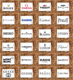 Τοπ διάσημα εμπορικά σήματα και λογότυπα ρολογιών Στοκ Εικόνα