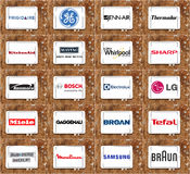 Τοπ διάσημα εμπορικά σήματα και λογότυπα συσκευών κουζινών Στοκ Εικόνες