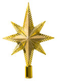 Τοπ διακόσμηση αστεριών, άριστος χριστουγεννιάτικων δέντρων, λευκό που απομονώνεται στοκ εικόνες με δικαίωμα ελεύθερης χρήσης