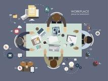 Τοπ καταιγισμός ιδεών άποψης εργασιακών χώρων Στοκ Εικόνες