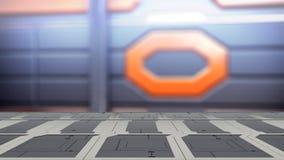 Τοπ πίνακας χάλυβα κινηματογραφήσεων σε πρώτο πλάνο με την τρισδιάστατη απεικόνιση υποβάθρου της sci-Fi θαμπάδων απεικόνιση αποθεμάτων