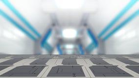 Τοπ πίνακας χάλυβα κινηματογραφήσεων σε πρώτο πλάνο με την τρισδιάστατη απεικόνιση υποβάθρου της sci-Fi θαμπάδων διανυσματική απεικόνιση