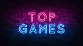 Τοπ σημάδι νέου παιχνιδιών, μεγάλο σχέδιο για οποιουσδήποτε λόγους r r Αναδρομικό σχέδιο εμβλημάτων Σημάδι νέου αυλακώσεων Διακόσ διανυσματική απεικόνιση