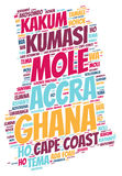 Τοπ σύννεφο λέξης προορισμών ταξιδιού της Γκάνας Στοκ Εικόνες