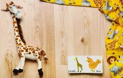Τοπ σύνολο άποψης ουσίας και παιχνιδιών για το νεογέννητο μωρό στο ξύλινο backgr Στοκ Εικόνες