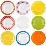 Τοπ σύνολο άποψης πιάτων ή πιάτων που απομονώνεται Στοκ εικόνες με δικαίωμα ελεύθερης χρήσης
