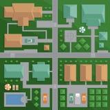 Τοπ χάρτης άποψης της πόλης με τις οδούς και των σπιτιών Άποψη από το abov Διανυσματική απεικόνιση