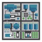 Τοπ χάρτης άποψης της πόλης με τις οδούς και των σπιτιών Άποψη από το abov Απεικόνιση αποθεμάτων