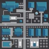 Τοπ χάρτης άποψης της πόλης με τις οδούς και των σπιτιών Άποψη από το abov Ελεύθερη απεικόνιση δικαιώματος