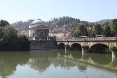 Τορίνο. Γέφυρα Vittorio Emanuele Ι μέσω Po. Στοκ Φωτογραφίες