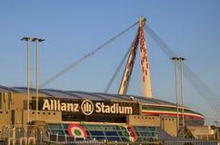 Τορίνο, Ιταλία, Piedmont - 8 Μαρτίου 2018 στις 18:15 προς το ηλιοβασίλεμα Το στάδιο Allianz στο Τορίνο Στοκ Εικόνες